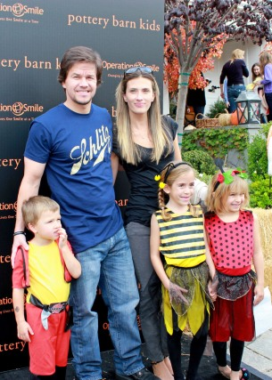 Mark Wahlberg, his wife Rhea Durham, and their three children attend the Pottery Barn Kids' Halloween Carnival benefitting Operation Smile in LA
